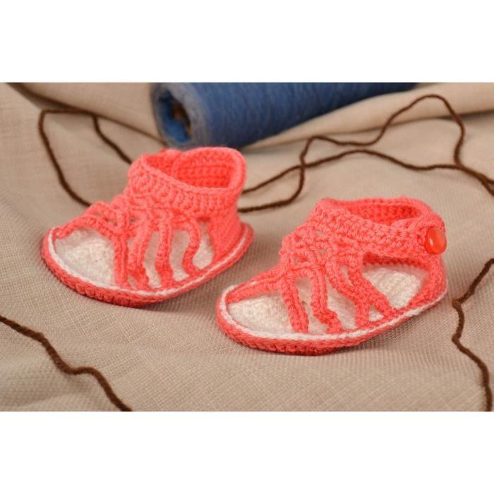 b920a07cd03eb Chaussons bébé fait main Nu-pieds enfant Chaussures bébé tricot corail