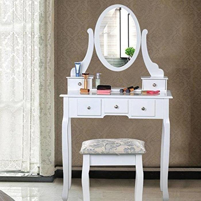 Table de dressage bureau de maquillage blanc coiffeuse avec