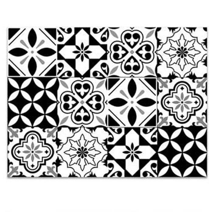 Tapis de cuisine vinyle \'Boho\' noir blanc (carreaux de Mosaïque ...
