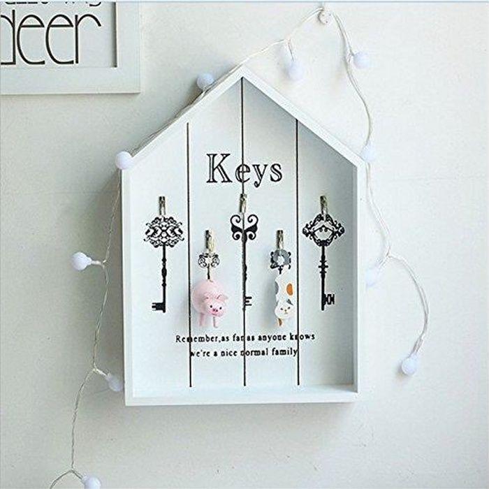 Boite À Clés Murale 1pcs boite armoire à clés murale -rangement des clefs en bois