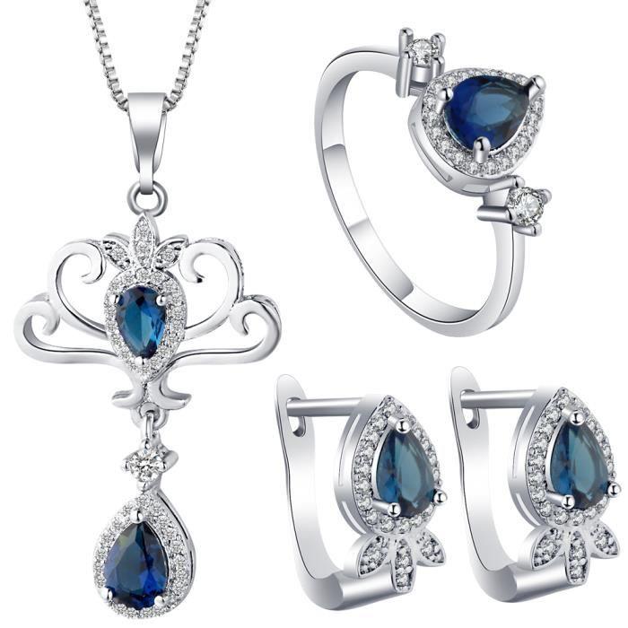 design intemporel 554b8 370b5 Parure Argent 925 Femme Cristal Bijoux Ensemble Collier Boucle d'Oreille  Bague Mariage