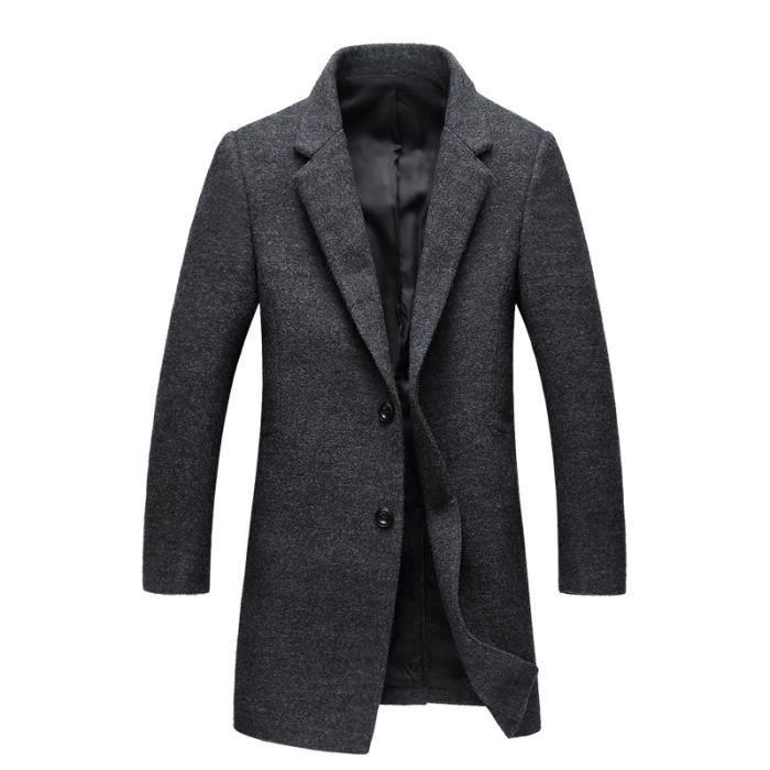 manteau en laine homme hiver marque luxe costume col cachemire pour homme slim fit gris gris. Black Bedroom Furniture Sets. Home Design Ideas