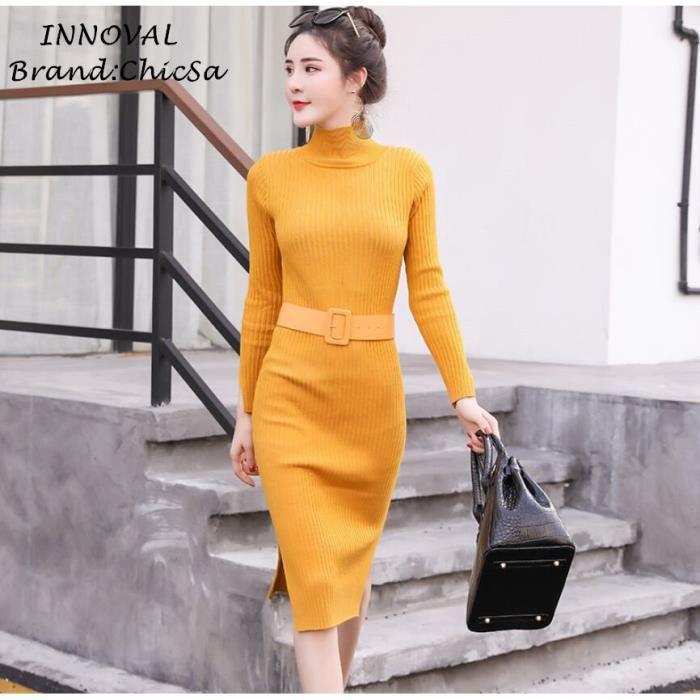9ce4bb1cc479e Printemps Nouveau Pull Robe Femme Couleur Unie Milieu Longue Slim Tricot  Robe de Bureau Automne Hiver Col haut Élégant Robe Noir