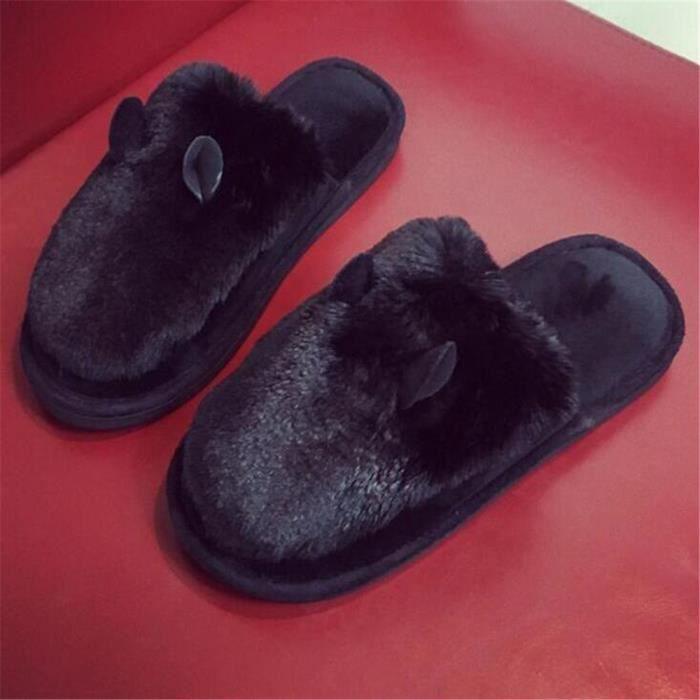 Oreilles Chausson Nouvelle arrivee Coton Homme Haut qualité Durable Hiver Chaud Série Couple Chaussure noir Grande Taille 40-45 7fdff