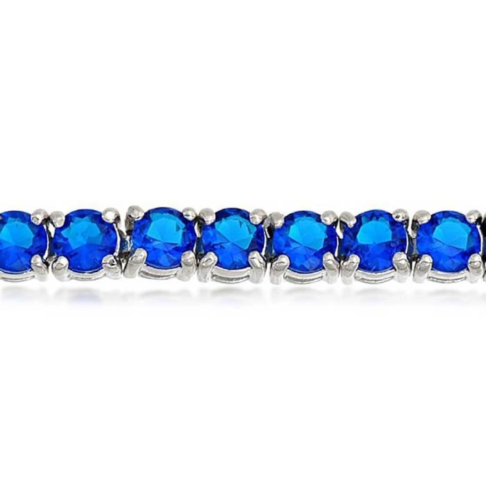 Womens Blue Simulated Sapphire Tennis Bracelet 7in Rhodium Plated P63I6