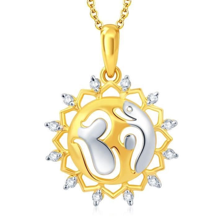 Womens Fascinating Gold And Rhodium Plated Cz Om God Pendant With Chain ForVA38M