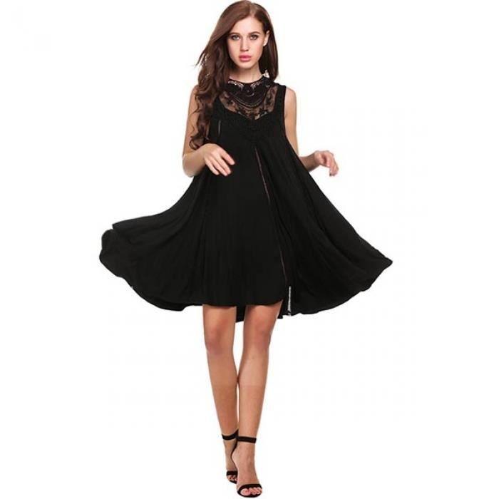 Femmes robe Mini dentelle occasionnelles Patchwork O cou creux lâche