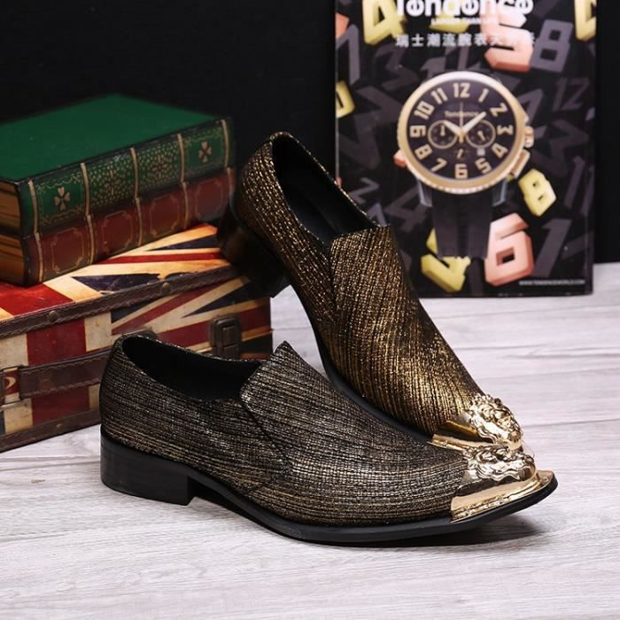 Mancuello Slip On Party et mariage Chaussures Hommes d'affaires Toe Métal style sociales Sapato Masculino Taille Big 38-46