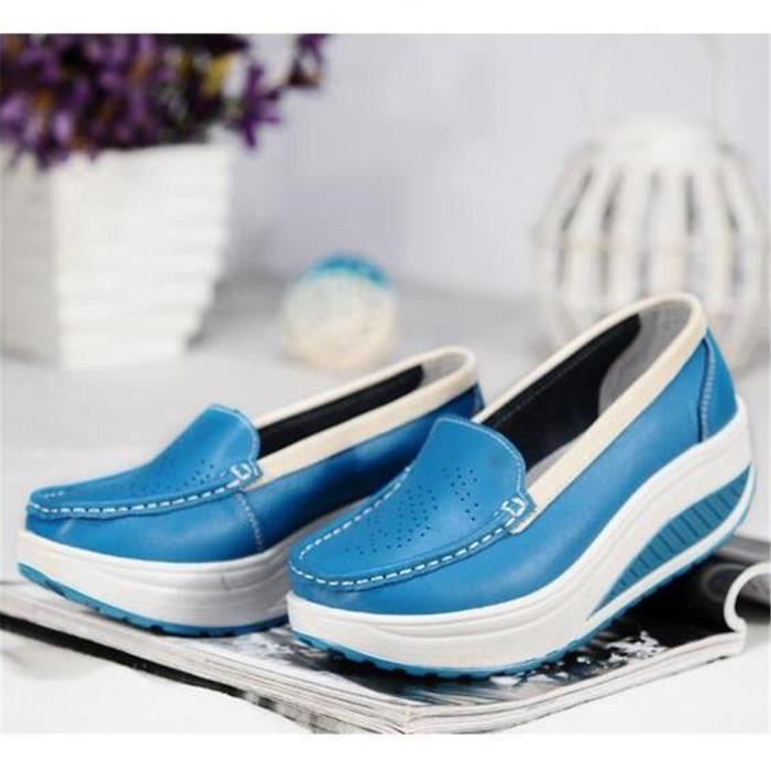 Chaussures Femmes Printemps ete Plate-Forme Chaussures BTYS-XZ058Bleu35