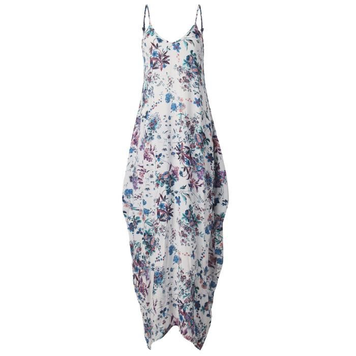 Womens V-neck Halter Sleeveless Loose Backless Floral Dress With Pockets 2QHWTU Taille-38