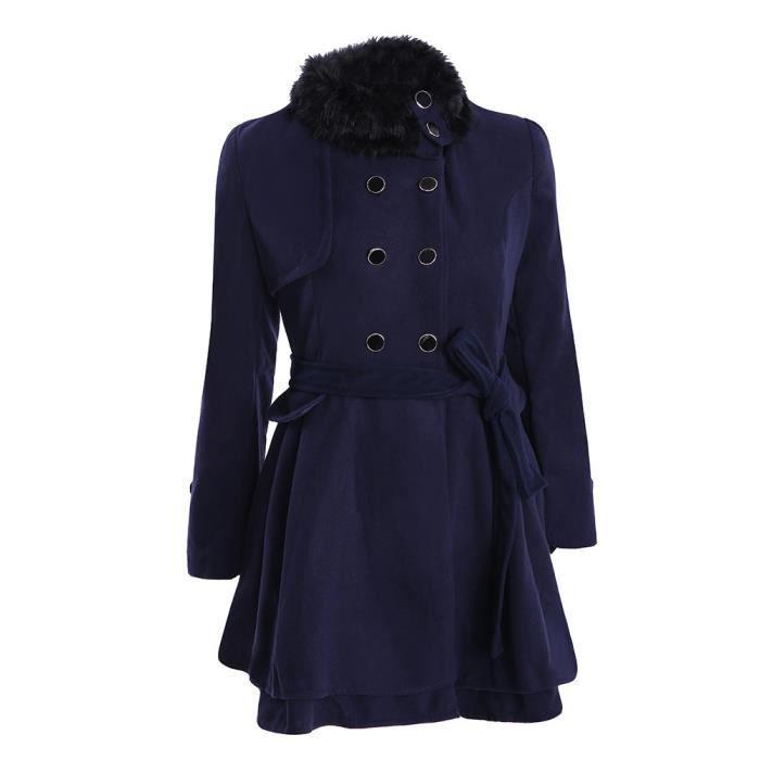 Foncé Manteau Chaud bleu Hiver Parka Long Veste Slim Femmes Caban Pardessus Épaisse Outwear RB7qxWACw