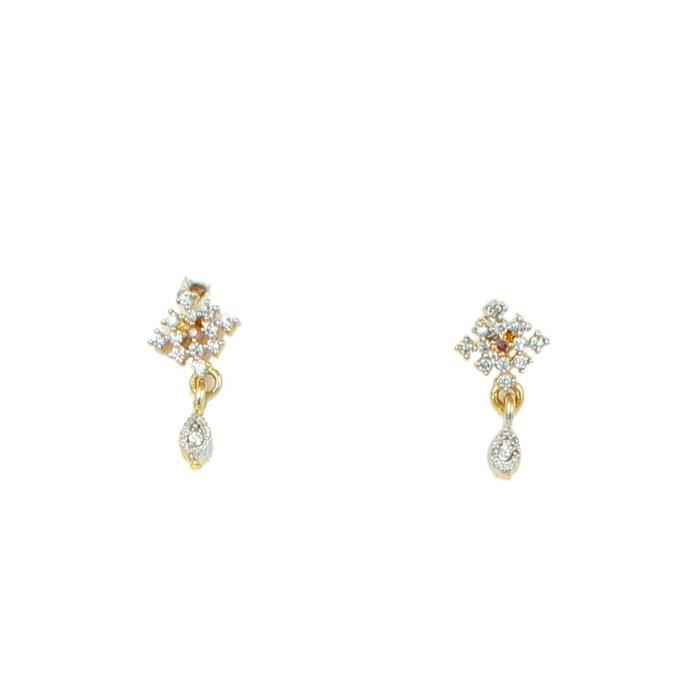 Womens American Diamond Gold Plated galsutra Pendant With Chain And Earrings ForGMUS9