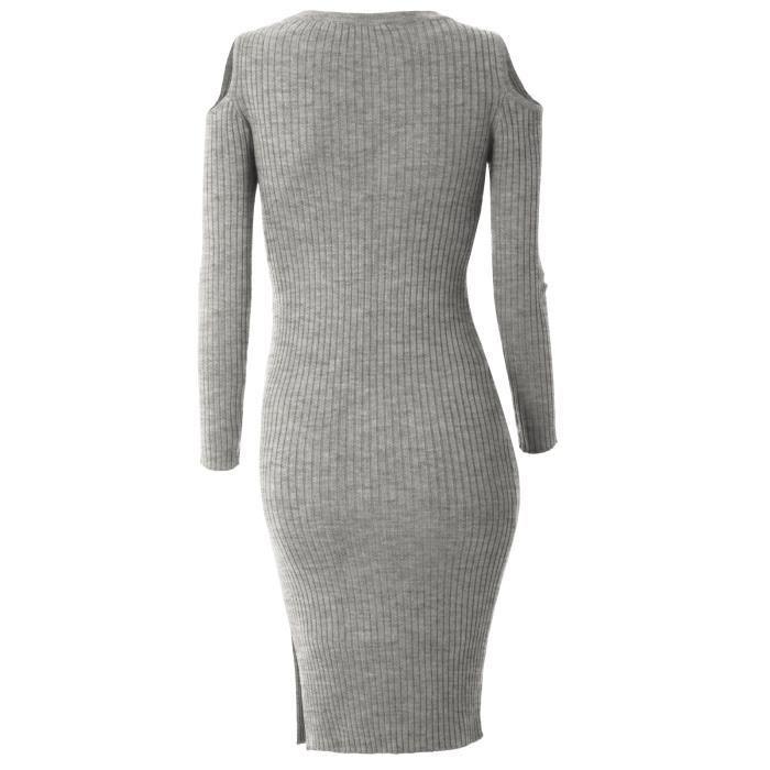 318ba132ba2 ... Robe Femme Manche Longue Slim Fit Sans Bretelles Col Rond Sexy Tricot  Printemps et Automne ...