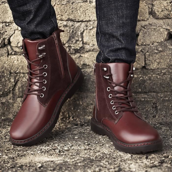 Garder au chaud Hommes Bottes hiver de haute qualité en cuir PU résistant à l'usure Chaussures Casual Bottes de travail