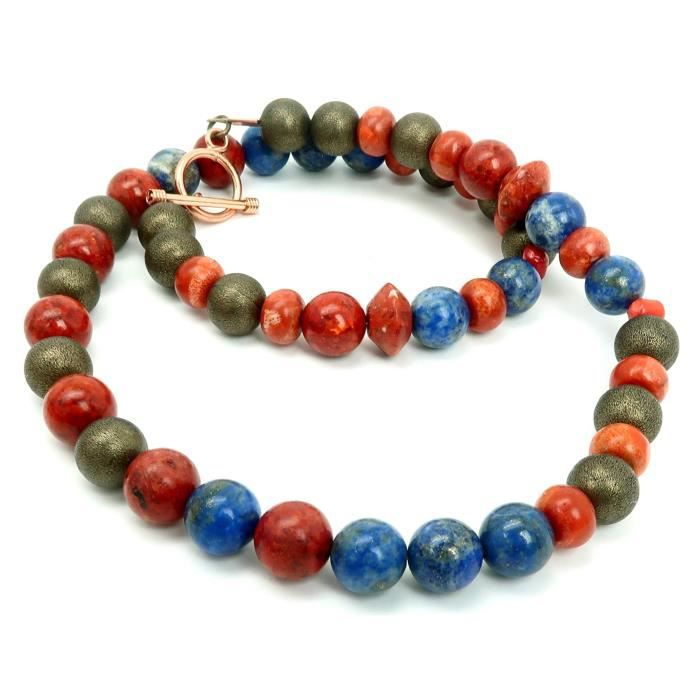 Womens Coral Necklace 11 - Lapis Blue Red Stone Beaded One-of-kind (22 Inches) V7ERN