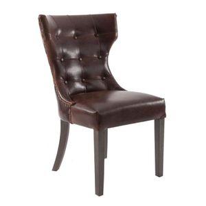 fccf6efb02cc chaise atelier chic en cuir vieilli marron et dossier capitonné Vical Home
