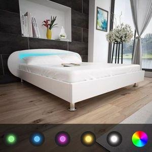 STRUCTURE DE LIT Lit Double Cadre de lit avec LED 180 x 200 cm Cuir