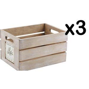 BOITE DE RANGEMENT Lot de 3 caisses de rangement provence en bois et