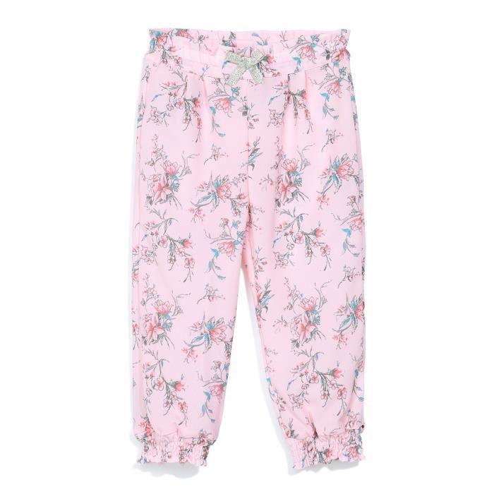 4ee4e193f1e8 3 POMMES Pantalon Fluide Imprimé Rose Pale Bébé Fille Rose - Achat ...