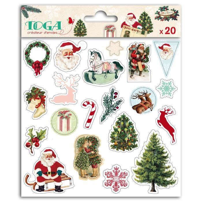 TOGA Planche de 20 Stickers Puffy - Motif Dear Santa  - 15x15 cm
