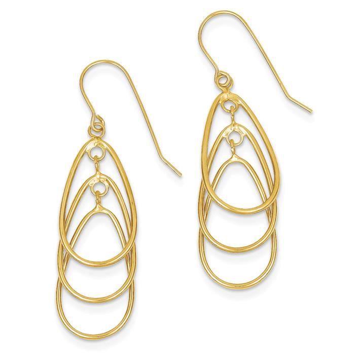 Poli 14 carats-Boucles doreilles pendantes en forme de larme qhIWJNcy