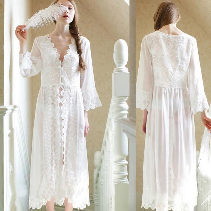 Monfils lace robe sexy long peignoir kimono robe de nuit des femmes