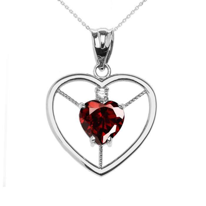 Collier Femme Pendentif Élégant 14 Ct Or Blanc Grenat et Diamant Solitaire Cœur (Livré avec une 45cm Chaîne)