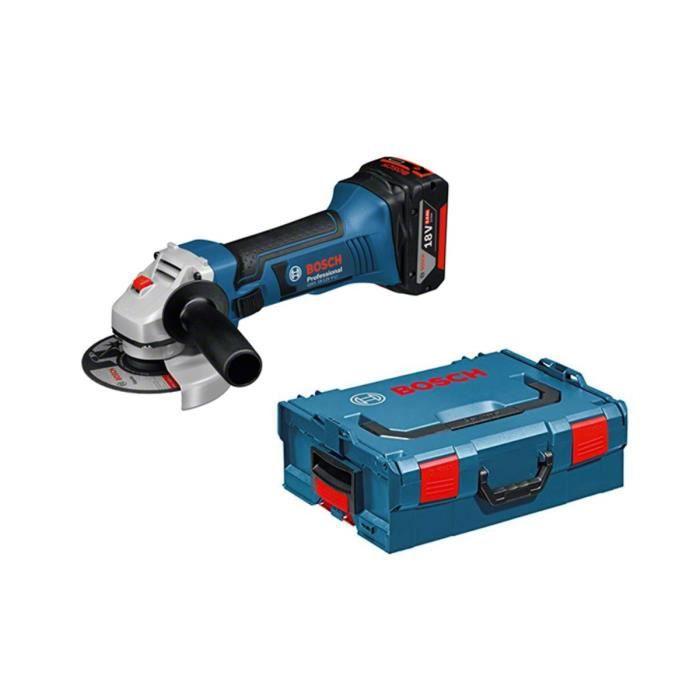 f4e3c68347c8aa Meuleuse angulaire 18V sans fil GWS 18-125 V-LI Bosch Professional + 2  batteries lithium 4,0 Ah + chargeur