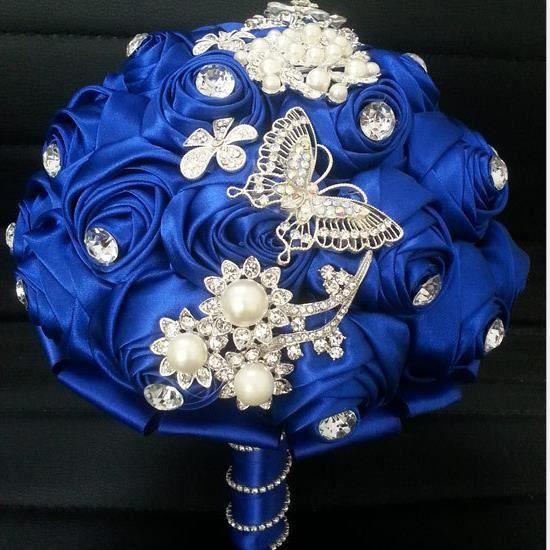 BOUQUET MARIÉE TISSU (NO.4)Superbe cristal Bouquet de mariage broche Bo