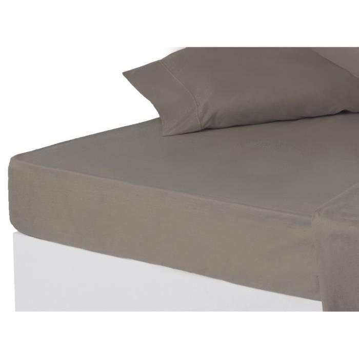 drap de dessous lit 150 cm gris achat vente drap plat cdiscount. Black Bedroom Furniture Sets. Home Design Ideas