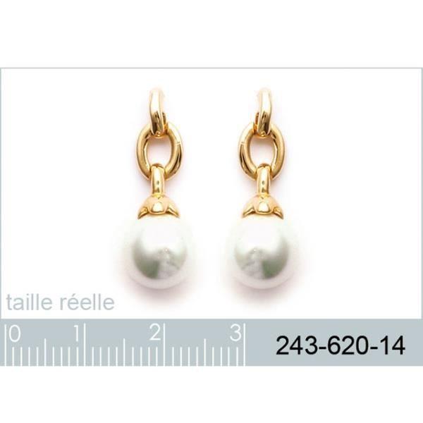 Boucles doreilles chaîne plaqué or avec perle