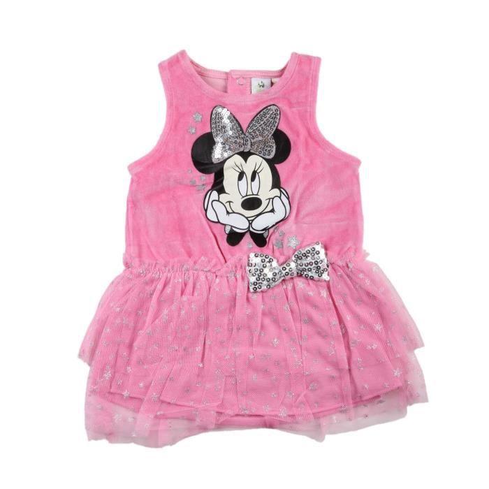 Minnie - Robe sans manche velours - bébé fille - rose