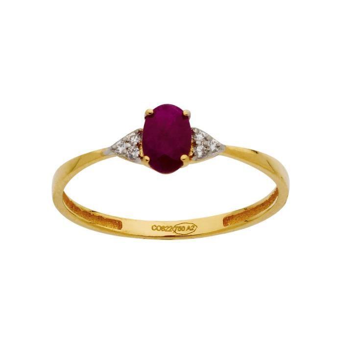 DIAMANTLY Bague bicolore rubis ovale 6*4 oxyde de zircon or 750/1000