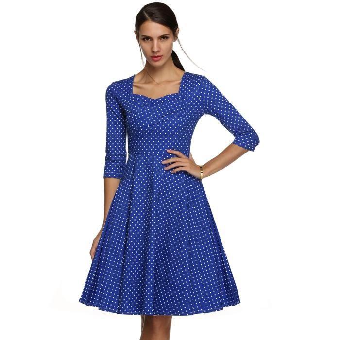 Robe femme longue Finejo robe femme manches 3-4 col carré taille haute motif de pois robe élégante
