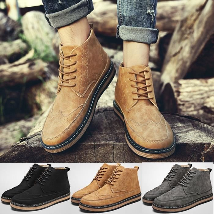 Bottes Gris 10.5 Loisirs Mode Automne Martin PU cuir imperméable Casual Outdoor High Martin 3 couleurs