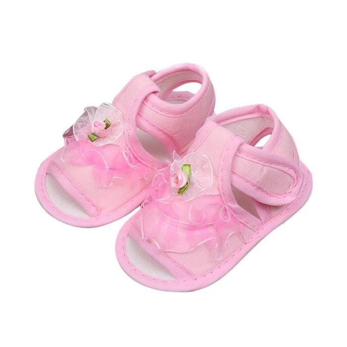 Frankmall®bébé filles berceau chaussures Soft semelle anti-dérapant espadrilles fleur sandales ROSE#WQQ0926015