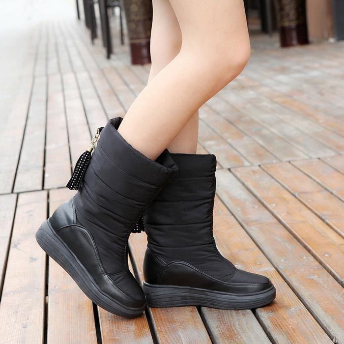 Bottes de neige chaudes d'hiver chaussures de coton talons plat genou bottes hautes femmes bottes