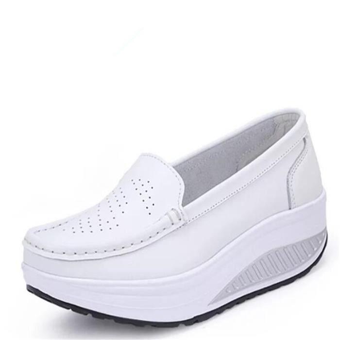 Chaussures Femmes Printemps ete Plate-Forme Chaussures LKG-XZ058Blanc35