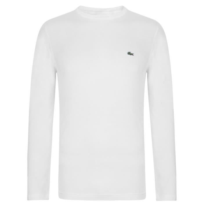 bfd461444a53 Lacoste T-Shirt Col Rond Manche Longue Homme Blanc Blanc - Achat ...