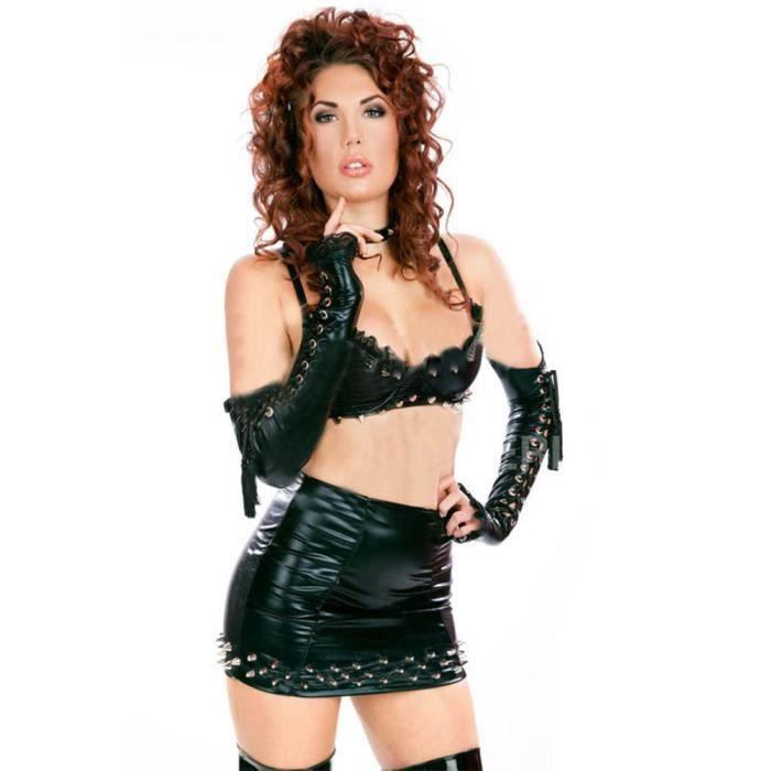 Sexy Ensemble Vinyle Cuir Clubwear Punk Lingerie Beauty® Gothique En De Wonder Rivet w4Iz1nq
