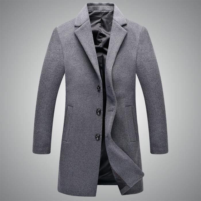 en ligne ici dessins attrayants dernière sélection Laine Manteau Homme de Marque Costume Col Cachemire Pardessus Slim Fit  Trench Coat Longue Homme