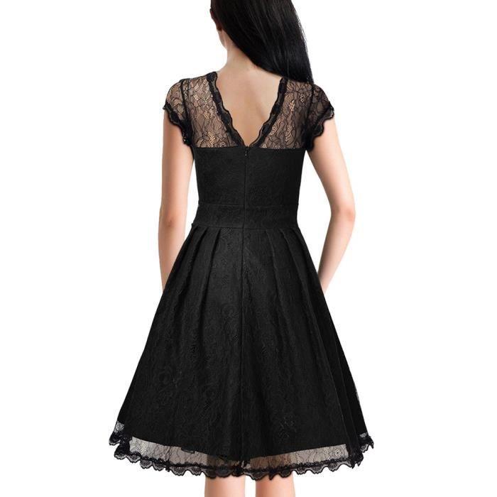 Noir Rétro Robe de Femme courte en dentelles col rond ajouré manches courtes taille moyen classique élégant A-linge S-XXL