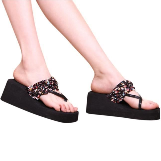 Floral Heeled Flip 8670 Wedge Bohême Flops Stain Chaussons aqfPU