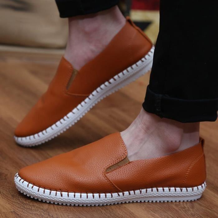Mocassins Hommes Cuir Printemps Ete Leger Mode Plat Chaussures BZH-XZ078Bleu42 mHNrHj