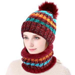 BONNET - CAGOULE Ensemble bonnet et écharpe d hiver pour femme, rou c473a4ec85f
