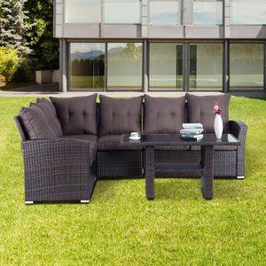 Salon de jardin canapé d\'angle résine tressé poly rotin structure en ...