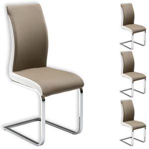 CHAISE Lot de 4 chaises INDIRA brun blanc