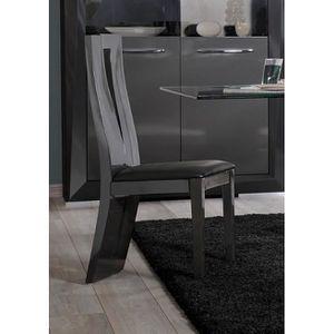 Chaise de salle à manger design BROOKLYN coloris gris/taupe laqué ...