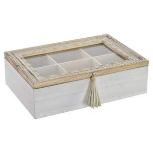 BOITES DE CONSERVATION Boîte à infusion Mandala en bois et verre - 24x16x