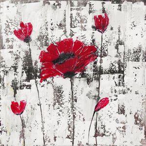 TABLEAU - TOILE Toile peinte Fleur - Coton - 70x70 cm - Rouge, bei